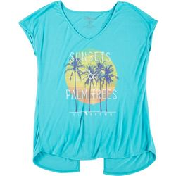 FloGrown Juniors Short Sleeve Open Back Sunsets T-Shirt
