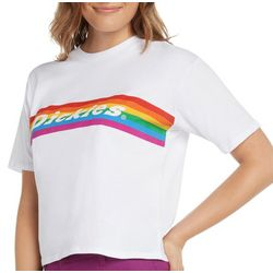 Dickies Juniors Rainbow Stripe Logo Cropped T-Shirt