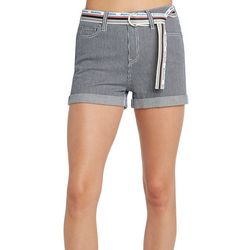 Juniors Striped Belted Roll Cuff Shorts