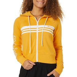 Juniors Mustard Cropped Zippered Hooded Jacket