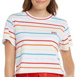 Dickies Juniors Thin Rainbow Stripe Logo Cropped T-Shirt