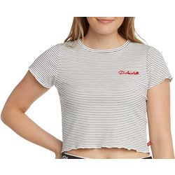 Dickies Girl Juniors Stripes Embroidered Cropped T-Shirt