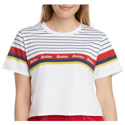 Dickies Girl Juniors Striped Logo Cropped T-Shirt
