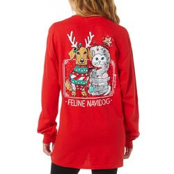 Juniors Feline Navidog Long Sleeve T-Shirt