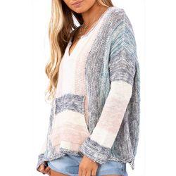 Juniors Montauk Striped Long Sleeve Sweater