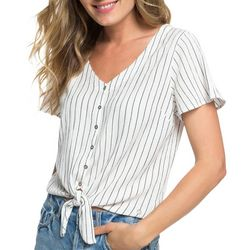 Roxy Juniors Come And Love Pin Striped Tie Front Top