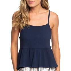 Roxy Juniors Deep Seast Strappy Ribbed Peplum Tank Top