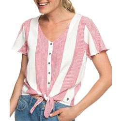 Roxy Juniors Come And Love Wide Striped Tie Front Top