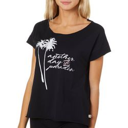 Roxy Juniors Another Day In Paradise Screen Print T-Shirt