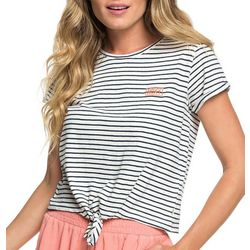 Roxy Juniors Striped Tie Front T-Shirt