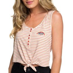Roxy Juniors Feeling Great Striped Tie Front Tank Top