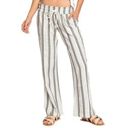 Roxy Juniors Oceanside Wide Stripe Linen Flare Pants