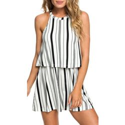 Roxy Juniors Favorite Song Striped High Neck Strappy Romper