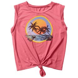 Roxy Juniors Palm Tree Sunset Tie Front Tank Top