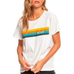 Roxy Juniors Retro Stripe Boyfriend Screen Print T-Shirt