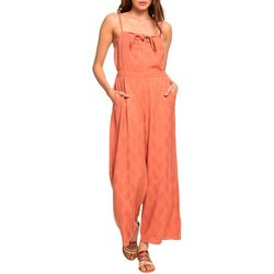 Roxy Juniors Feel The Retro Strappy Flared Solid Jumpsuit