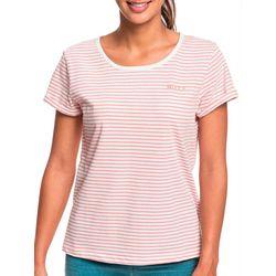Juniors Flight Mode Striped Short Sleeve T-Shirt