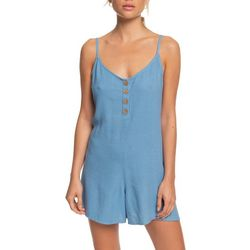 Roxy Juniors Solid Sleeveless Coconut Romper