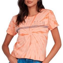 Juniors Palm Striped Short Sleeve Top