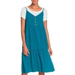 Juniors Solid Teared Sleevless Dress