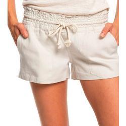 Juniors Natural Linen Shorts