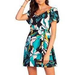 Juniors Hibiscus Shimmy Over Sun Dress
