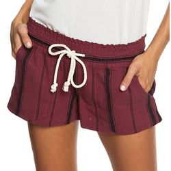 Roxy Juniors Oceanside Striped Linen Beach Shorts