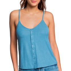 Roxy Juniors Sweet Divine Solid Button Down Sleeveless Top