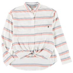 Hurley Juniors Striped Double Pocket Button Down Top