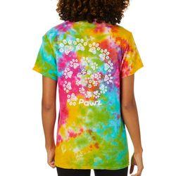PAWZ Juniors Tie Dye Paw Print Short Sleeve T-Shirt