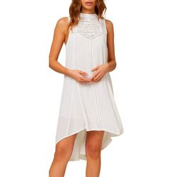 Juniors Issa Solid Crochet Detail Dress