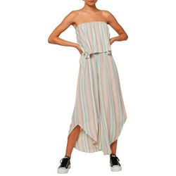 O'Neill Juniors Kyler Striped Strapless Jumpsuit
