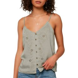 O'Neill Juniors Lylah Floral Detail Button Front Tank Top