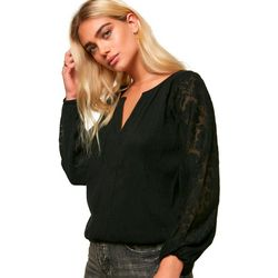 Juniors Lariviere Lace Long Sleeve Top