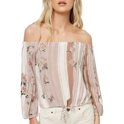 O'Neill Juniors Adalyn Floral Striped Off The Shoulder Top