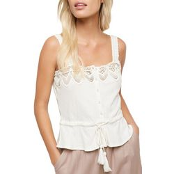 O'Neill Juniors Sunlover Button Down Crochet Trim Top