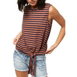O'Neill Juniors Chesapeak Striped Tie Front Tank Top
