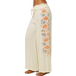Oneill Womans Cream Flowy Pants With Flowers