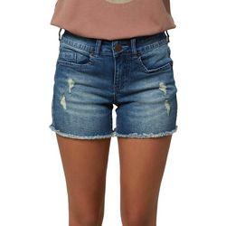 Oneill Juniors High Rise Ripped Denim Shorts