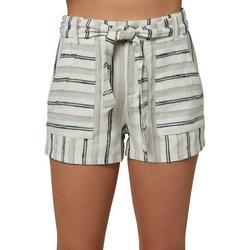 Juniors High Rise Striped Shorts