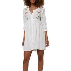 Juniors Floral Embroidery Dress