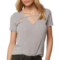 O'Neill Juniors Jolie Heathered Cutout Top