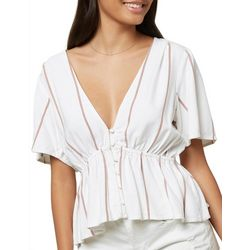Juniors Wes Button Down Vertical Stripes Top