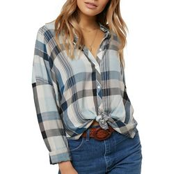 O'Neill Juniors Arlow Plaid Button Down Top