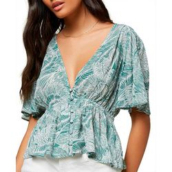 Juniors Was Palm Leaf Print Short Sleeve Top
