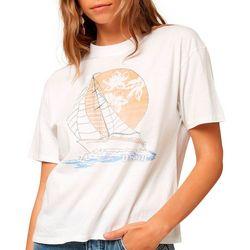 Juniors Sailboat Graphic Oversized T-Shirt