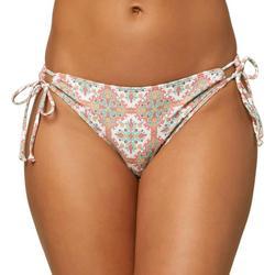 Juniors Tile Print Side Tie Bikini Bottom