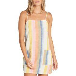 Billabong Juniors Straight Striped Linen Mini Dress