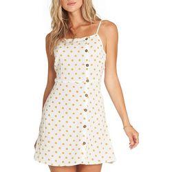 Billabong Juniors Polka Dot Button Embellished Mini Dress