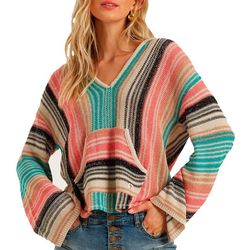 Juniors Baja Multi Stripe Hoodie Beach Sweater